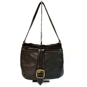 Levenger Brown Leather Hobo Satchel Bag